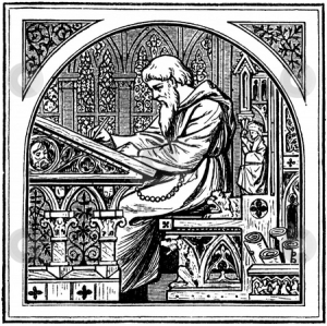 cutcaster-photo-100821309-Medieva-monk-writing-at-desk